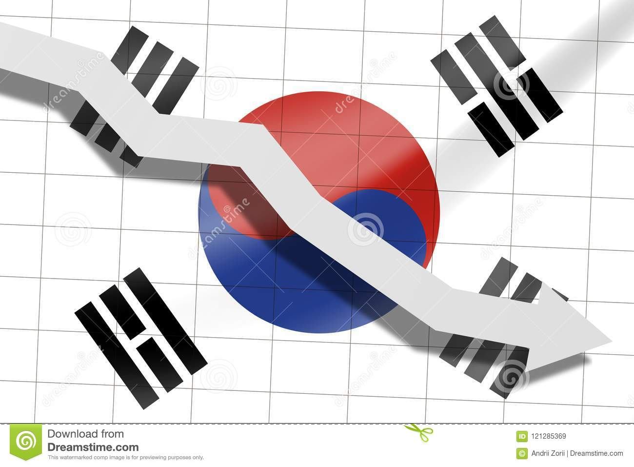The arrow falls on the background of the South Korea flag