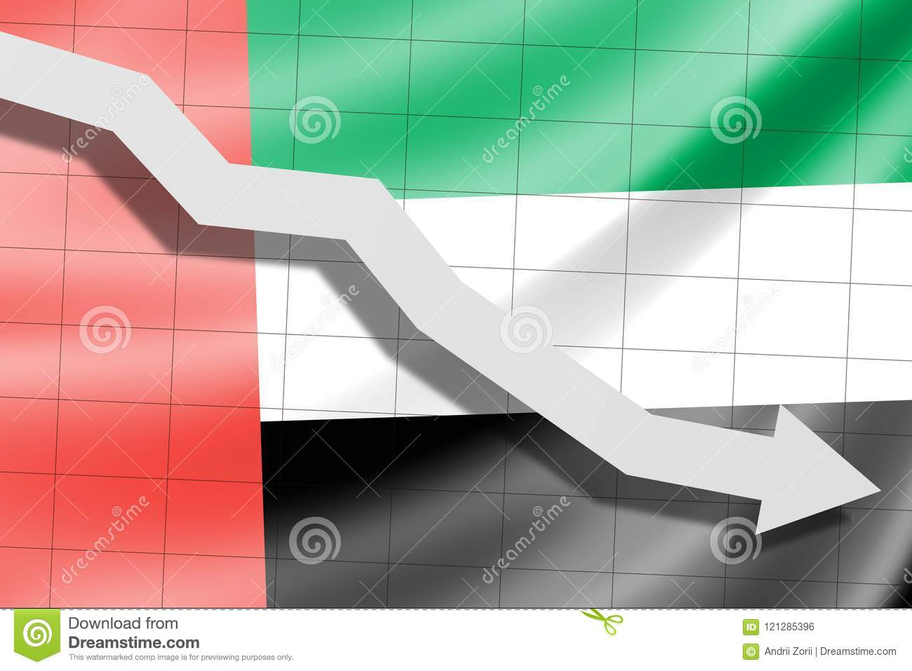The arrow falls on the background of the United Arab Emirates flag