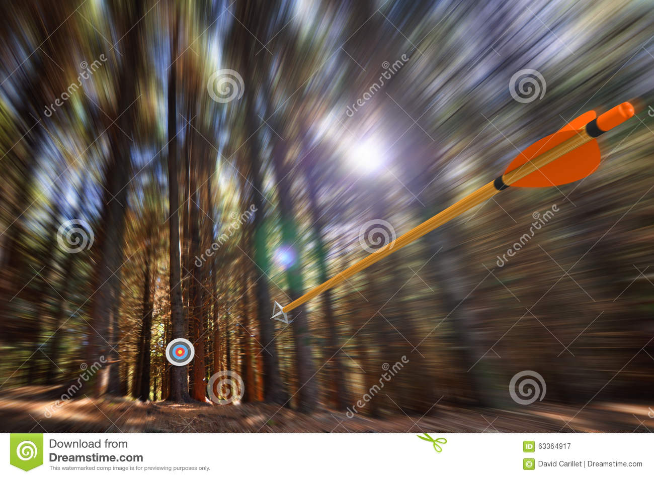 Arrow Flying To Target With Radial Motion Blur Stock Photo