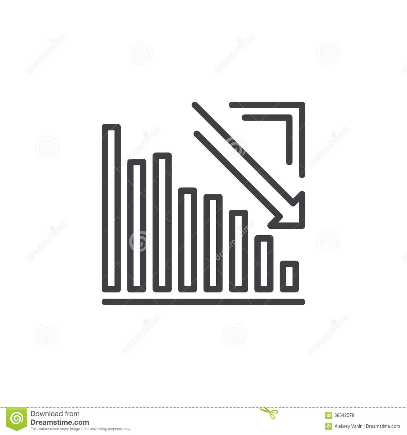 Arrow graph going down line icon outline vector sign linear download arrow graph going down line icon outline vector sign linear pictogram isolated on ccuart Images