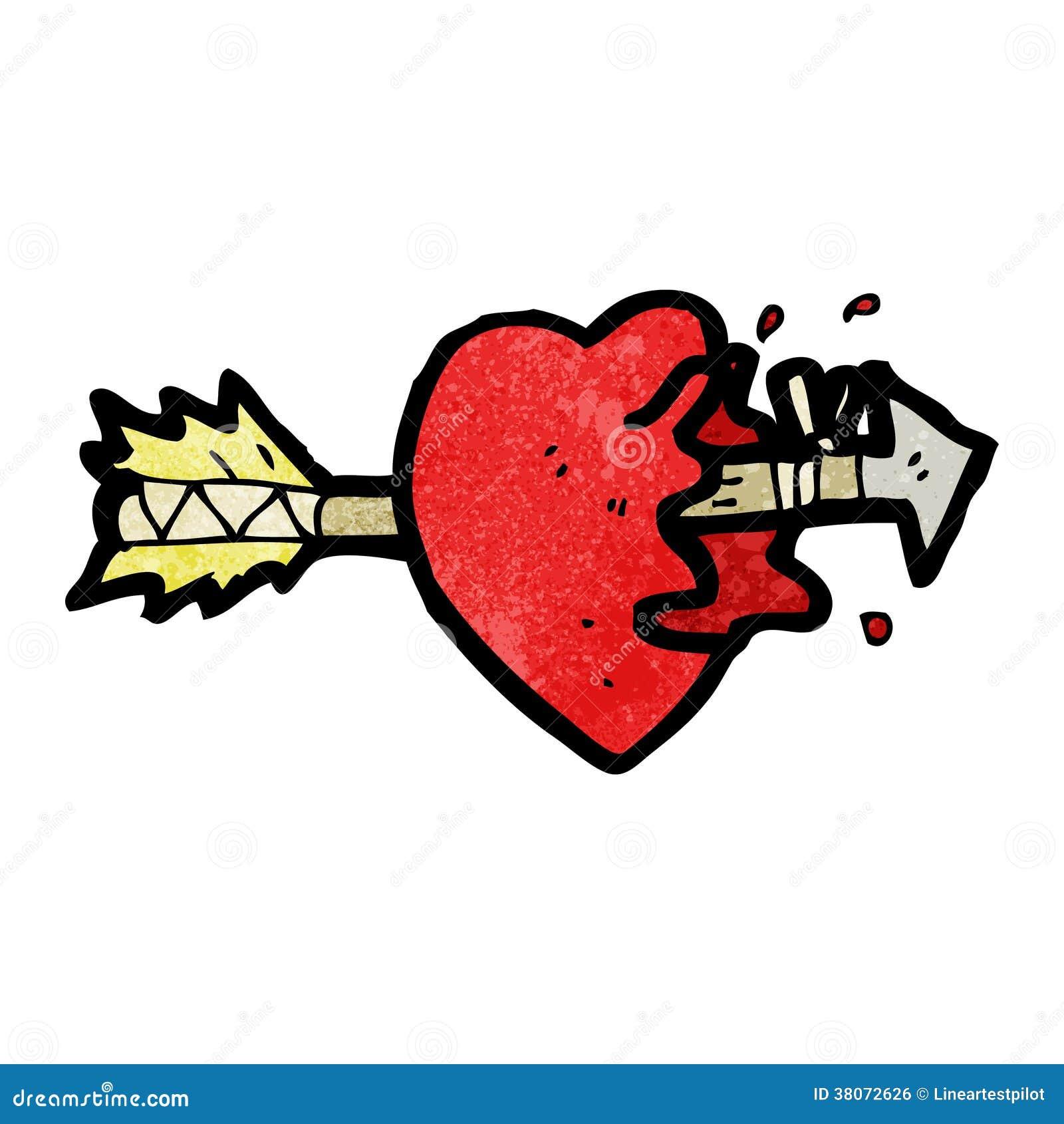 arrow through heart cartoon stock illustration illustration of
