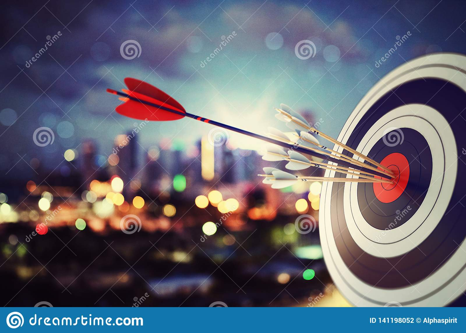 Arrow hit the center of target with modern skyline background. Business target achievement concept. 3D Rendering