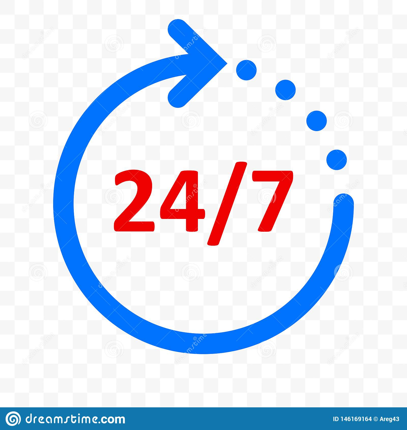 24 7 arrow icon, customer support, delivery and 24 hours, 7 days week open symbol. Vector round clock arrow sign