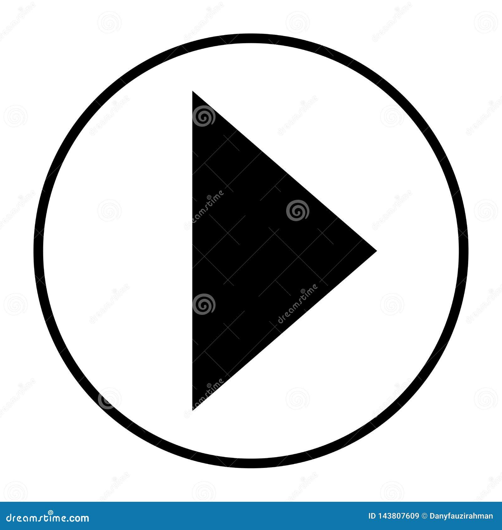 Arrow Icon Forward Play Button Black In White Background
