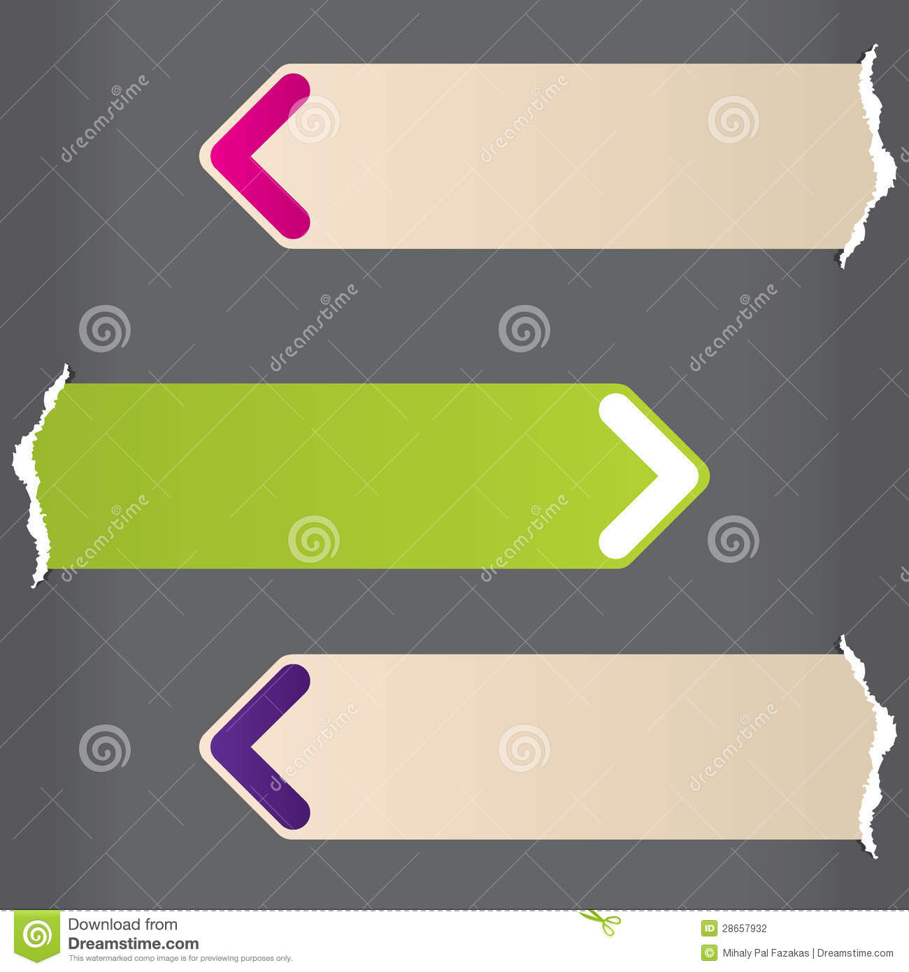arrow labels bursting from ripped paper stock vector illustration
