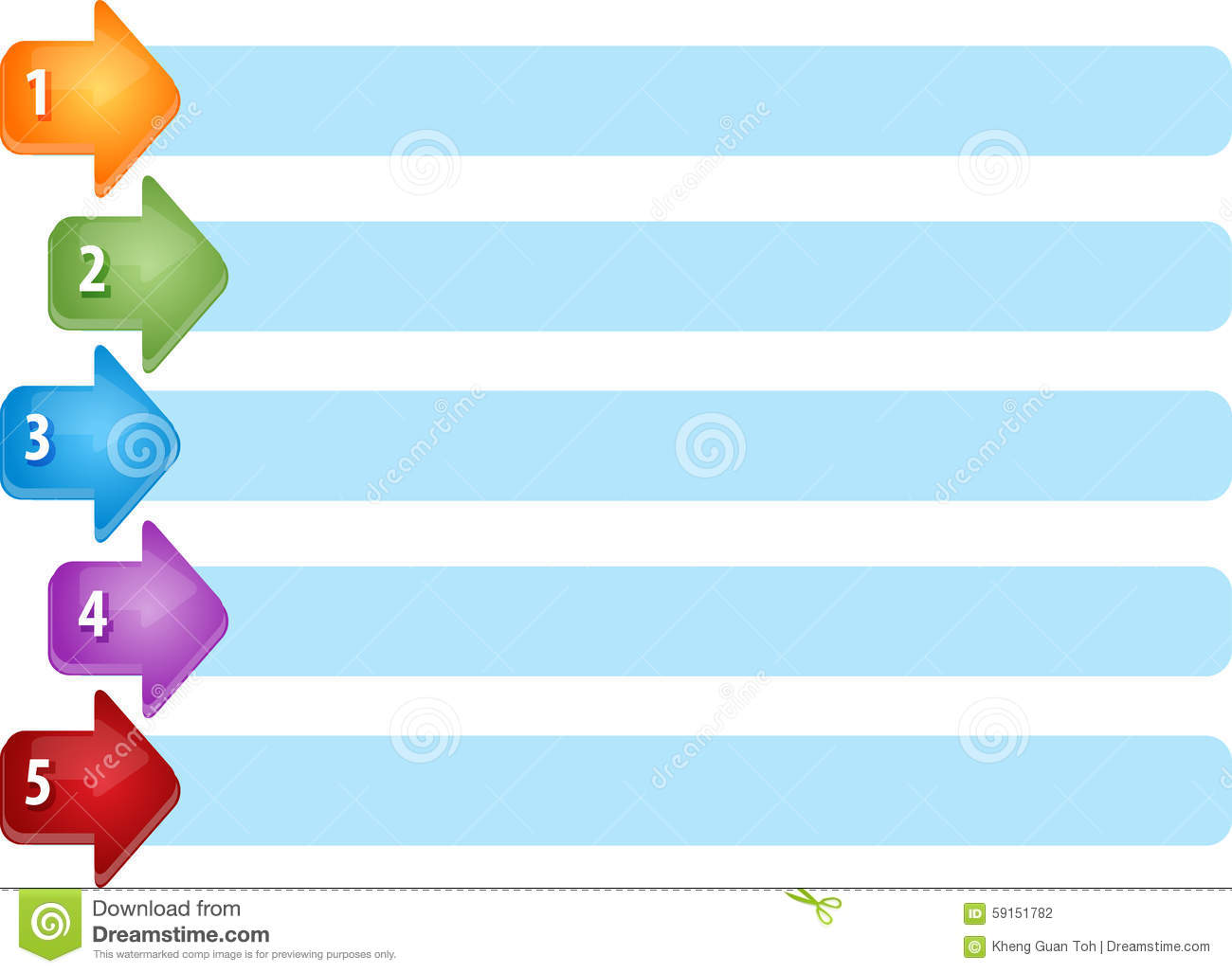 Arrow List Five Blank Business Diagram Illustration Stock