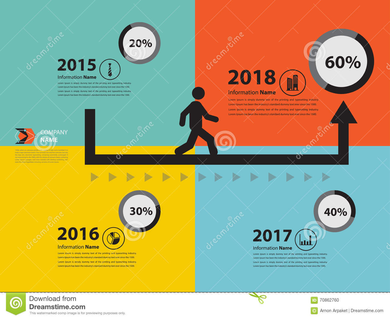 arrow milestone and timeline for business presentation stock, Powerpoint templates