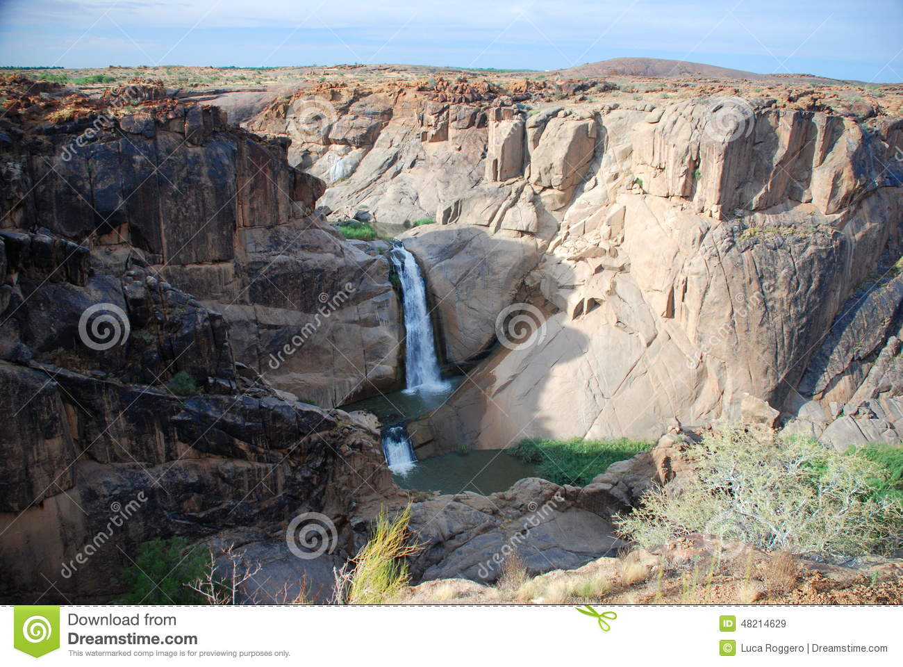Arrow Point fall. Orange river canyon at Augrabies Falls National Park. Northern Cape, South Africa