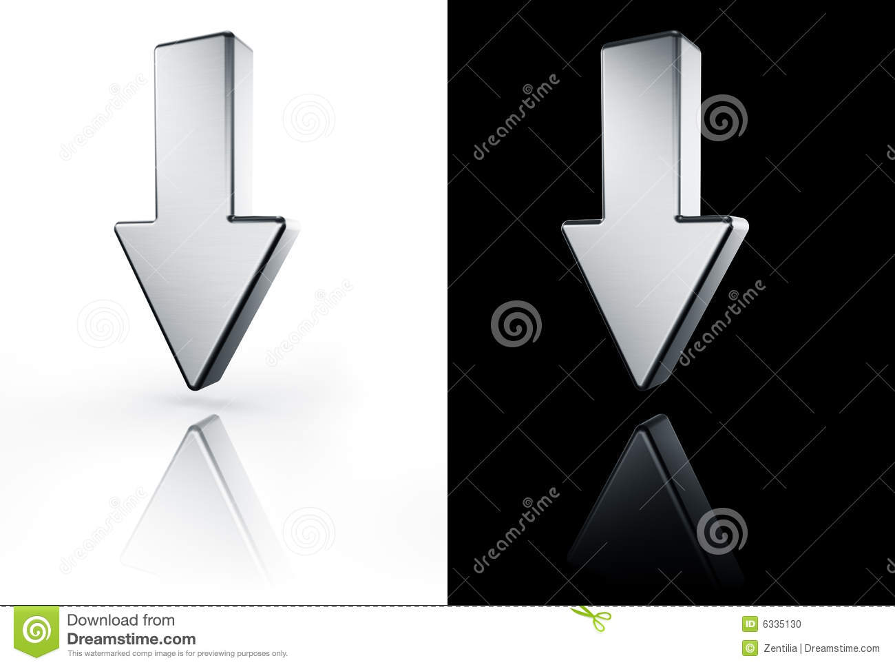 Arrow pointing down on white and black floor stock illustration royalty free stock photo biocorpaavc Choice Image