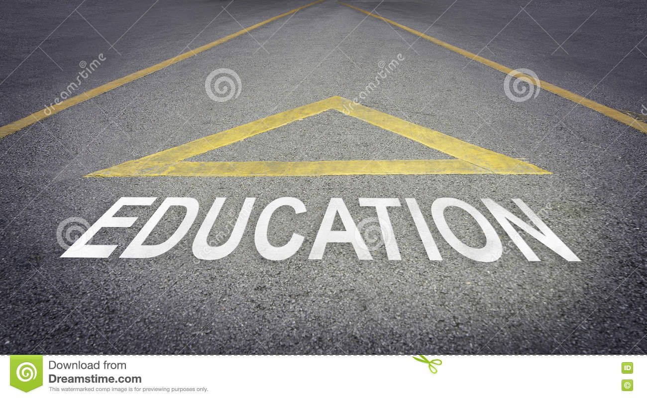 Arrow pointing forward for better future with Education.