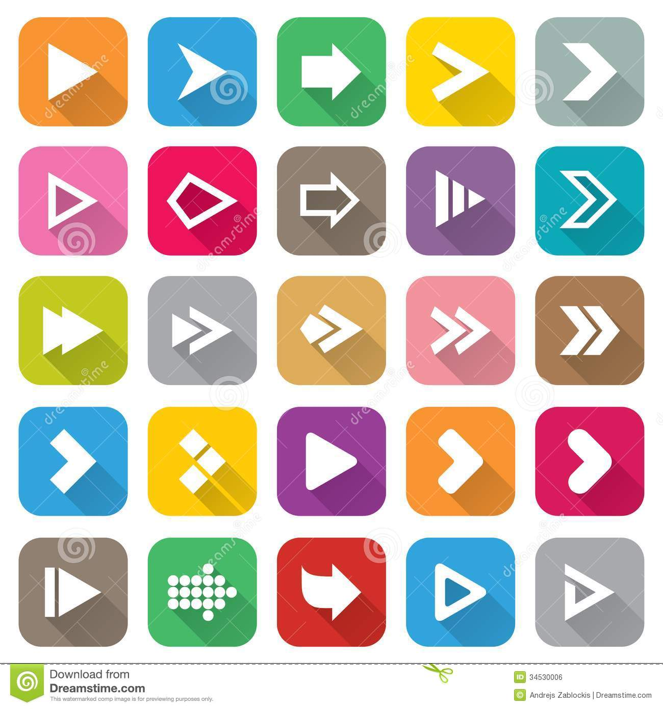 Arrow Sign Icon Set. 25 Flat Buttons For Web. Royalty Free Stock ...