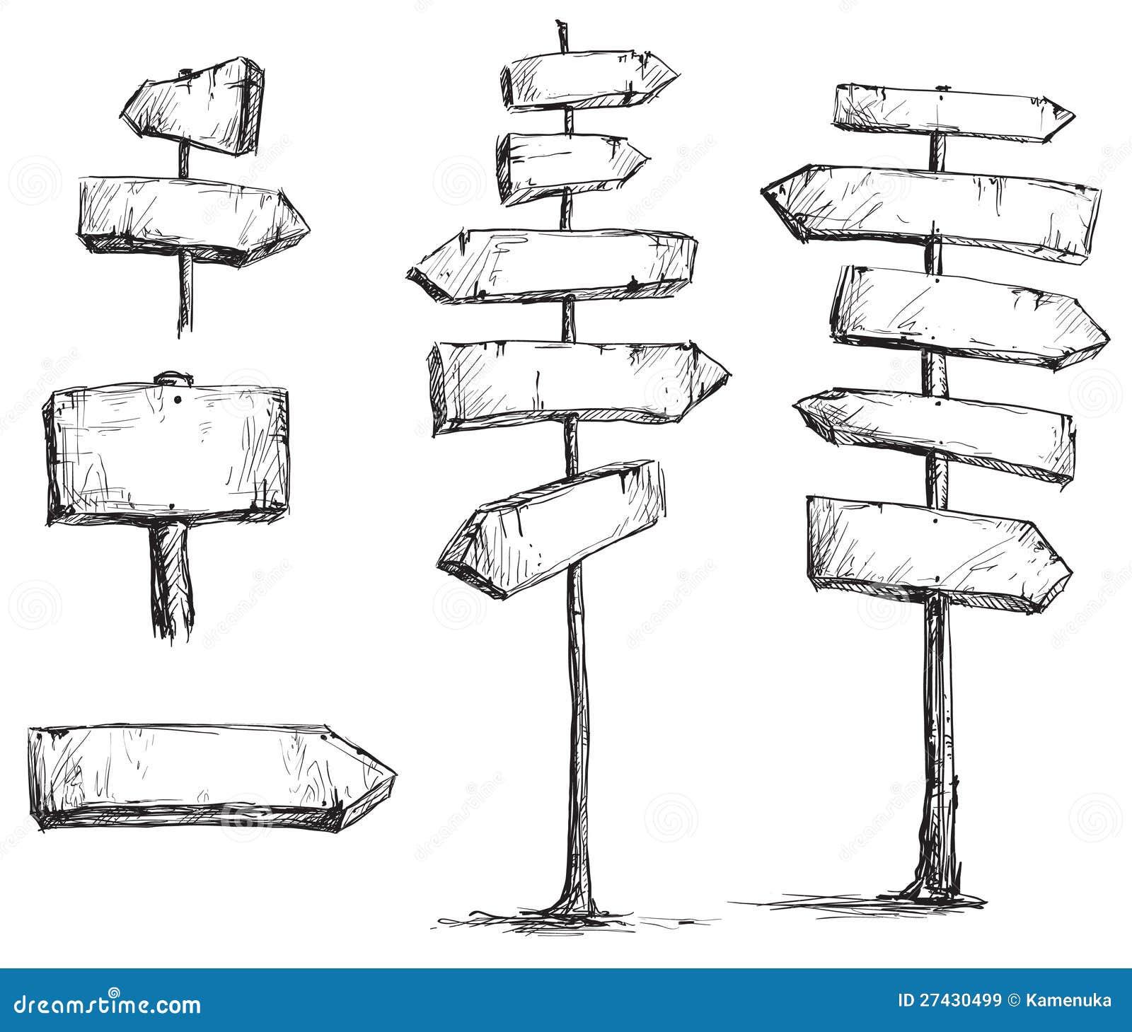 Arrow Signs Vector Drawing Stock Vector Image Of Sketch