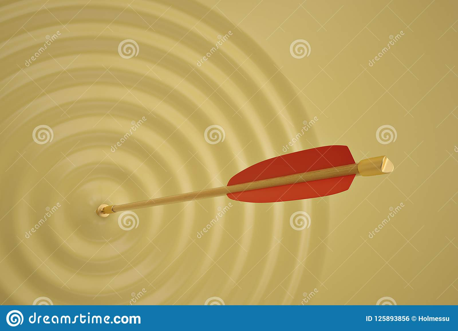 The arrow which makes a wave on yellow background. 3D illustration.
