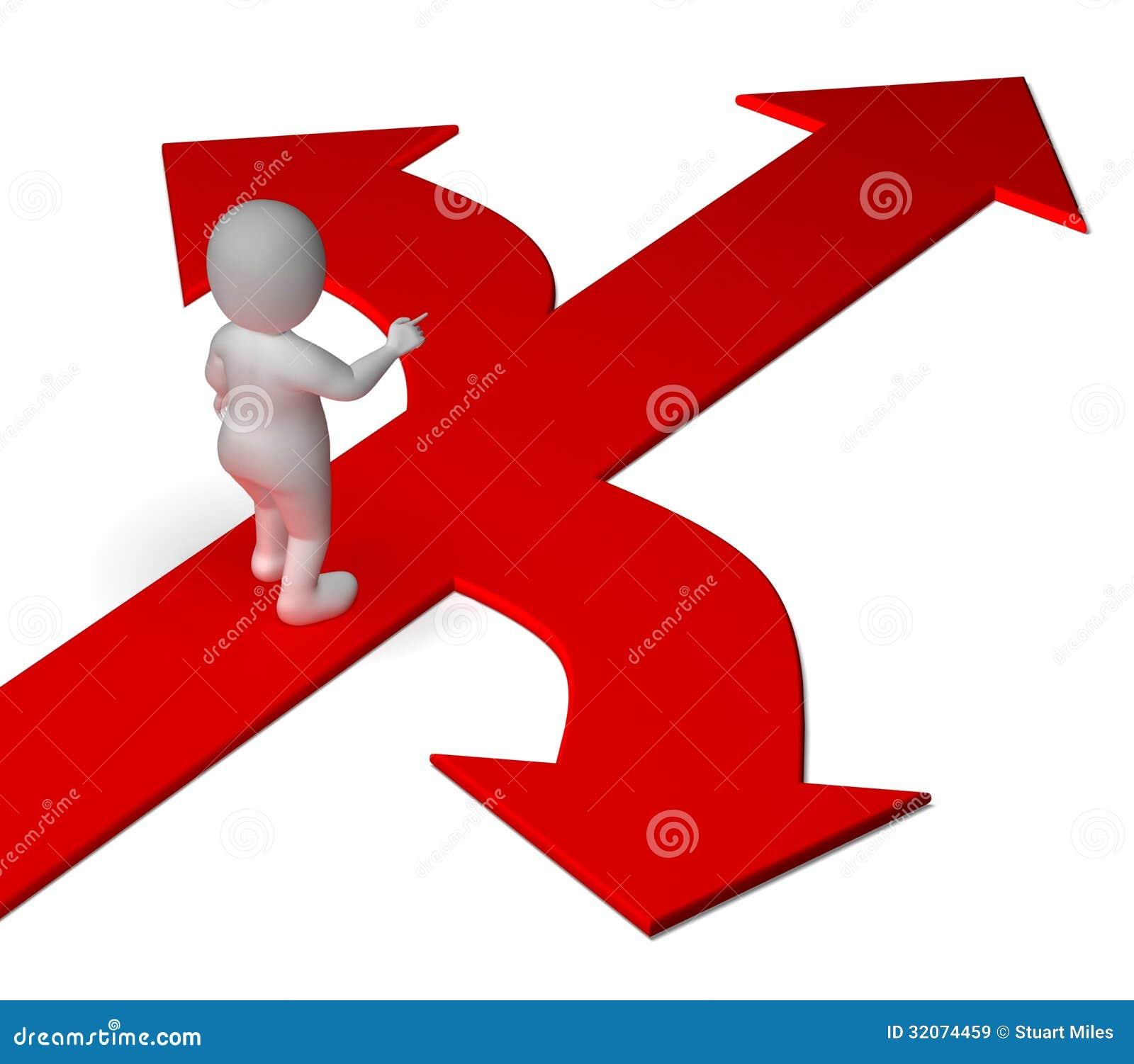 Arrows Choice Showing Options Alternatives Or Deciding