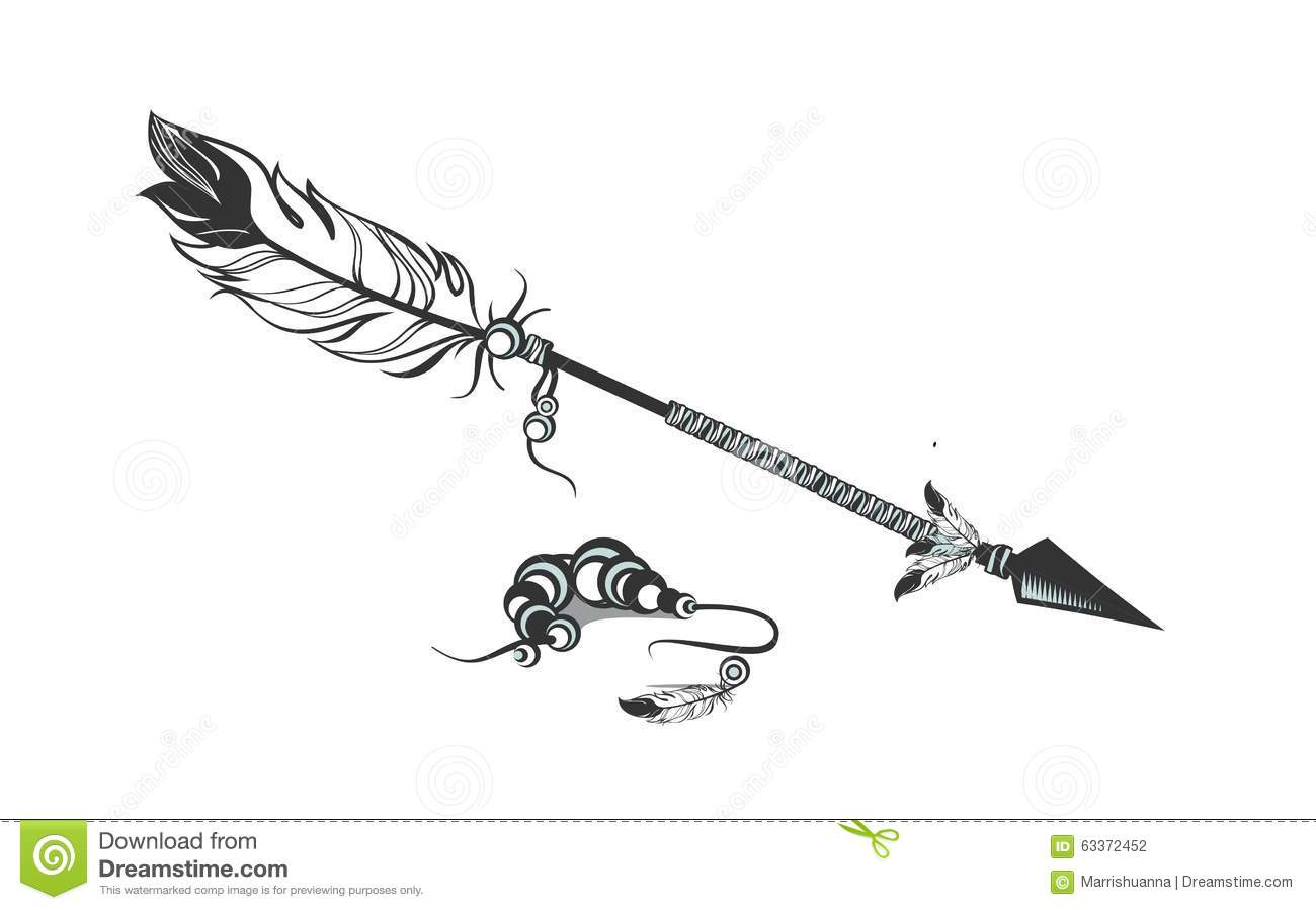 Arrows with feathers stock vector. Illustration of divider ...