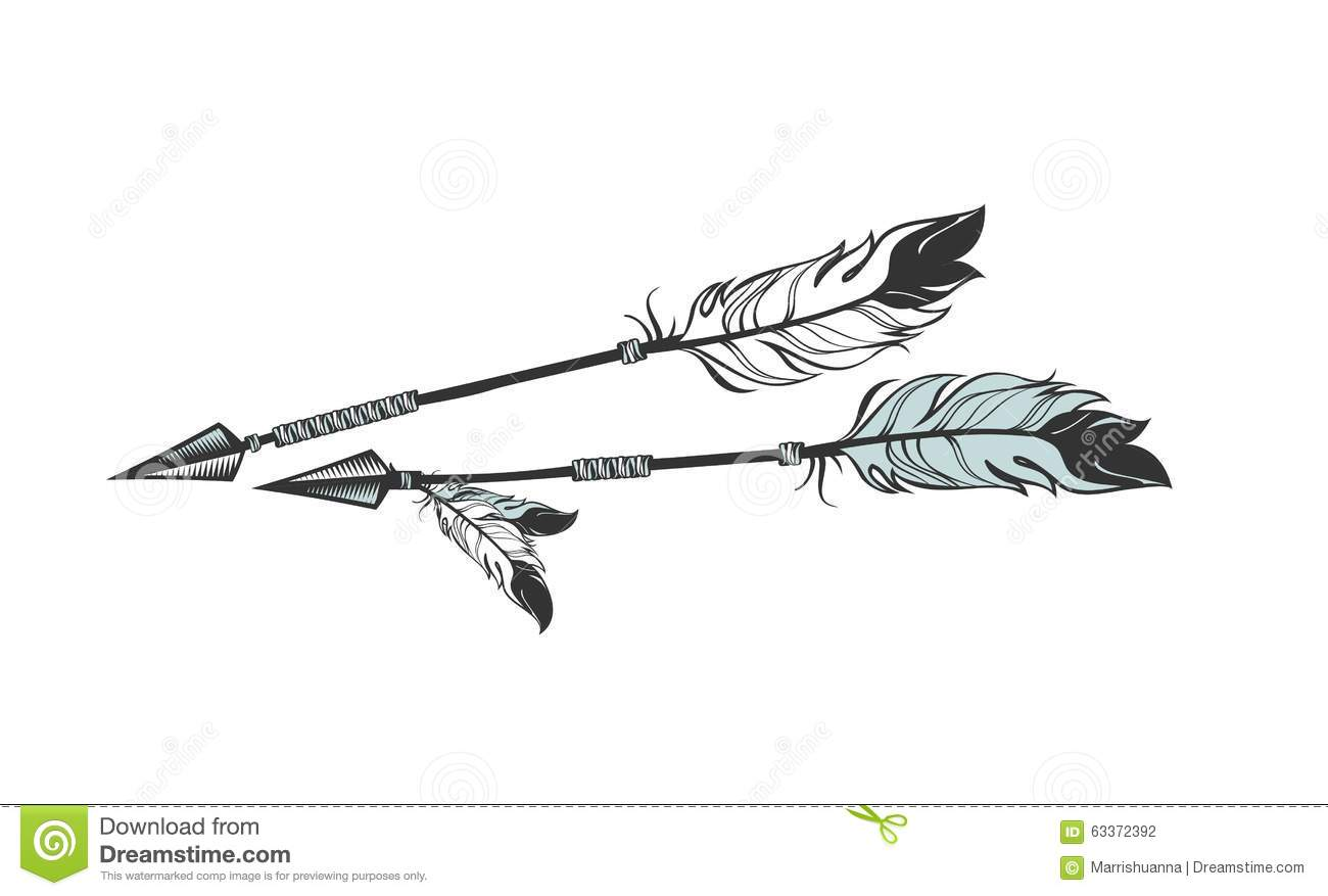 Arrows with feathers stock vector. Illustration of card ...