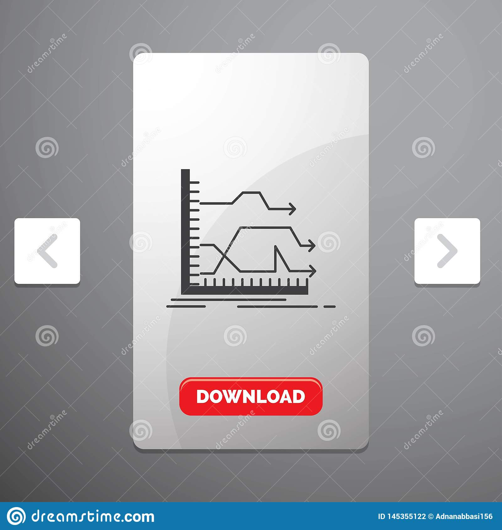 Arrows, forward, graph, market, prediction Glyph Icon in Carousal Pagination Slider Design & Red Download Button. Vector EPS10 Abstract Template background stock photography