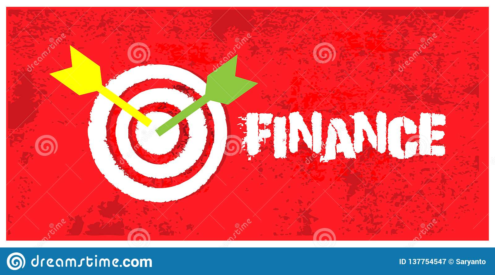 Arrows hitting the center of target on grunge background. Vector illustration concept for Success finance