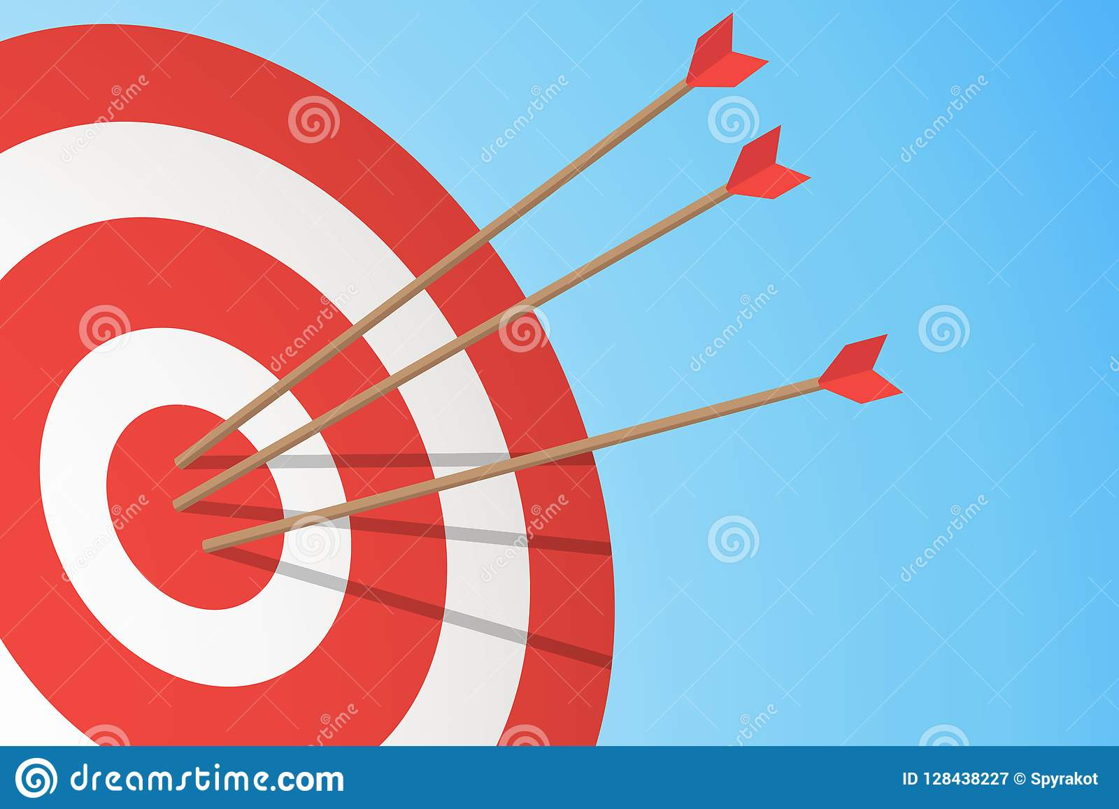 Arrows hitting a target. One target and three arrows. Business goal concept. Vector illustration
