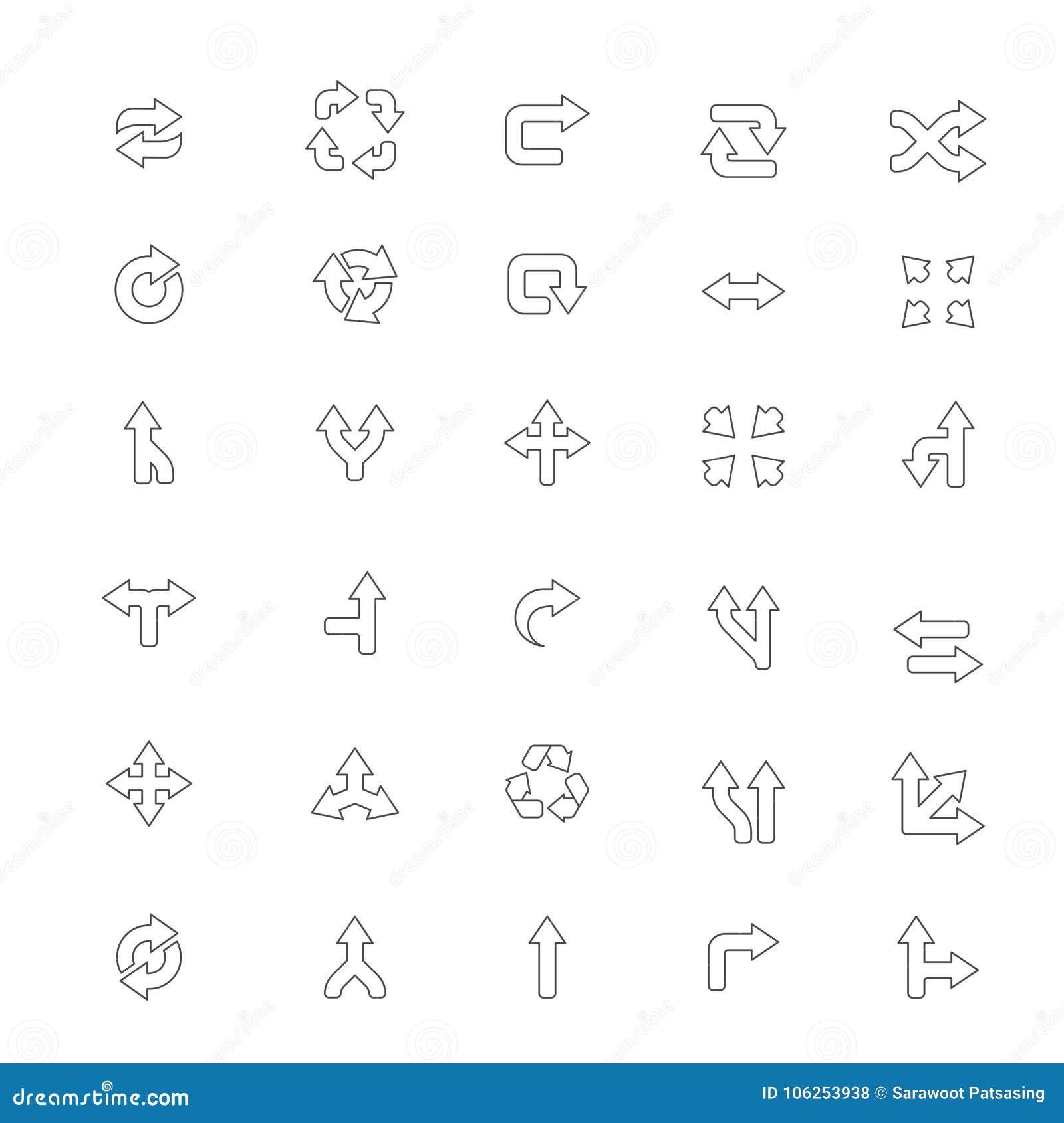 Arrows Icon On White Background Illustrator Stock Illustration