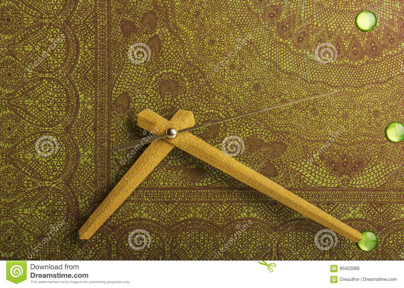 Arrows Of The Wall Clock Painted In Bronze Color Stock Photo - Image ...
