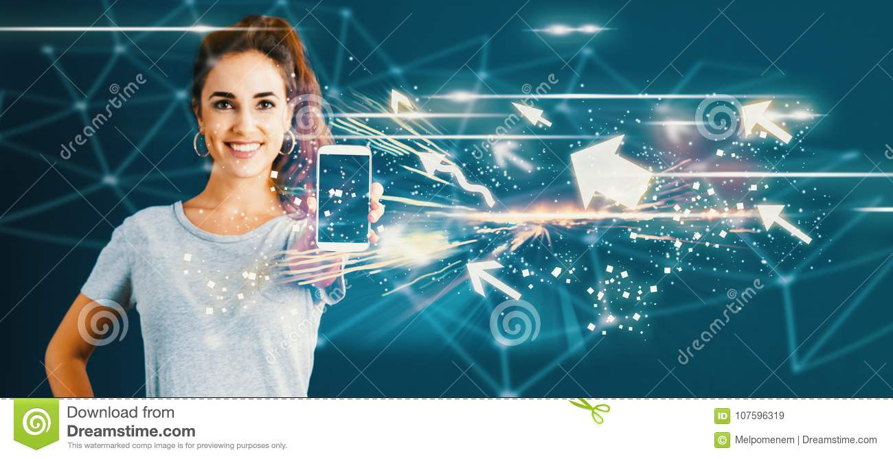 Arrows with young woman holding out a smartphone