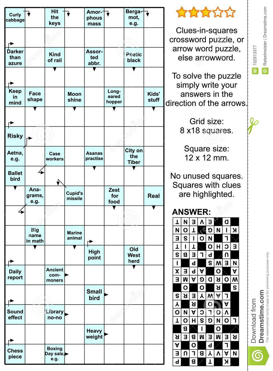 Arrowword Clues-in-squares, Scanword Crossword Puzzle Stock