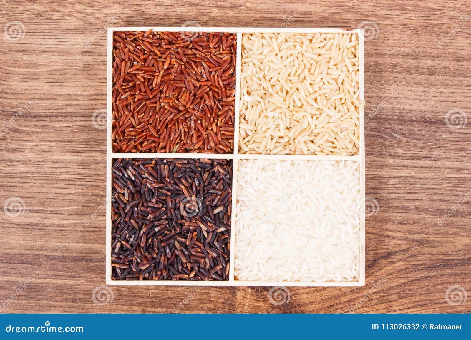 Arroz blanco, marrón, negro y rojo, sano, concepto libre de la nutrición del gluten