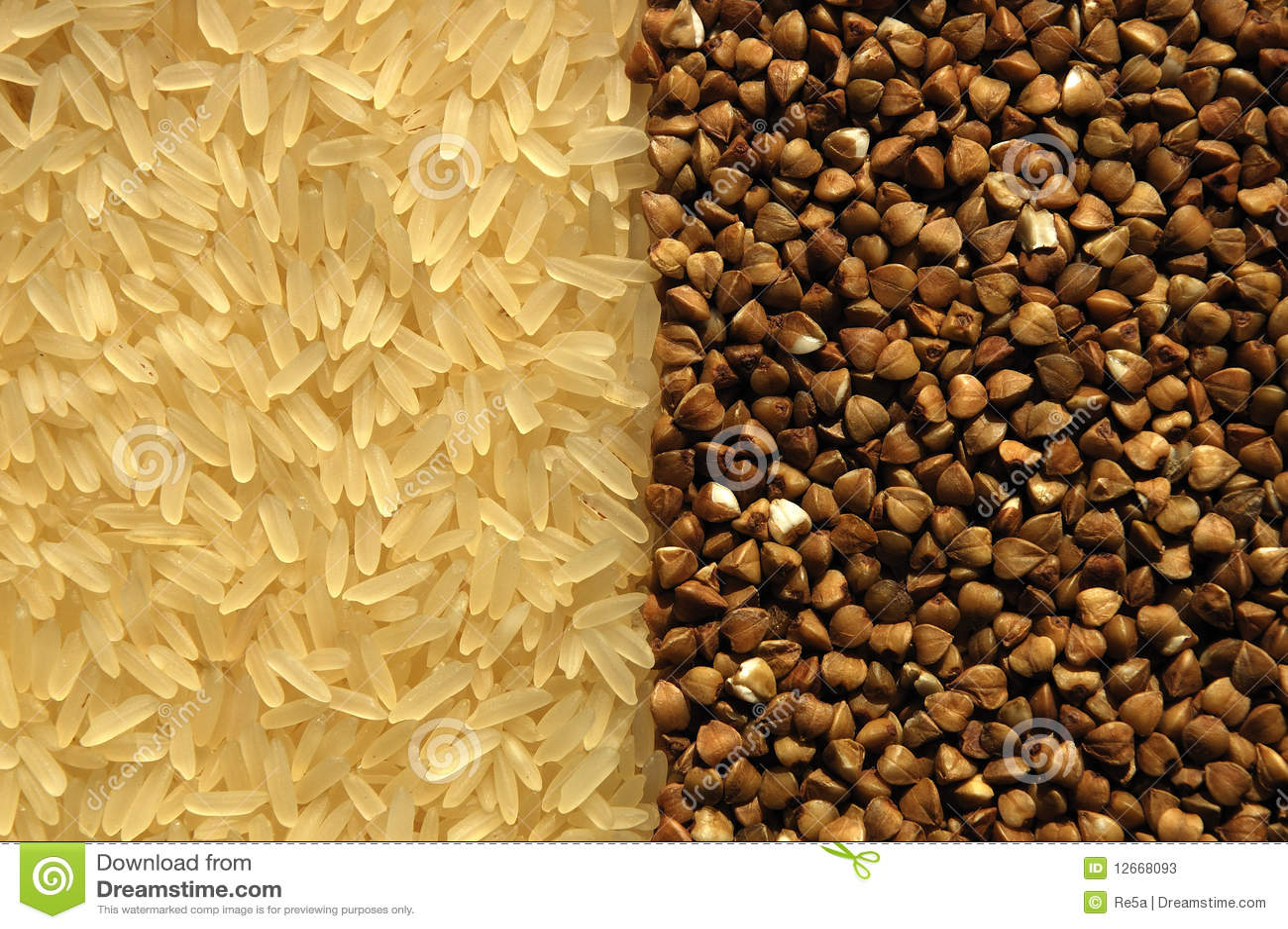 Arroz e trigo mourisco de contacto recíproco