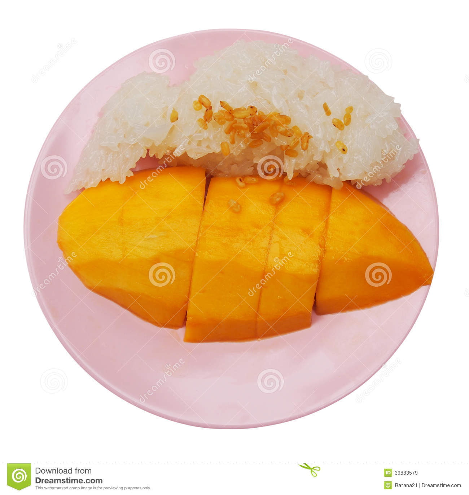 Arroz pegajoso y mango maduro