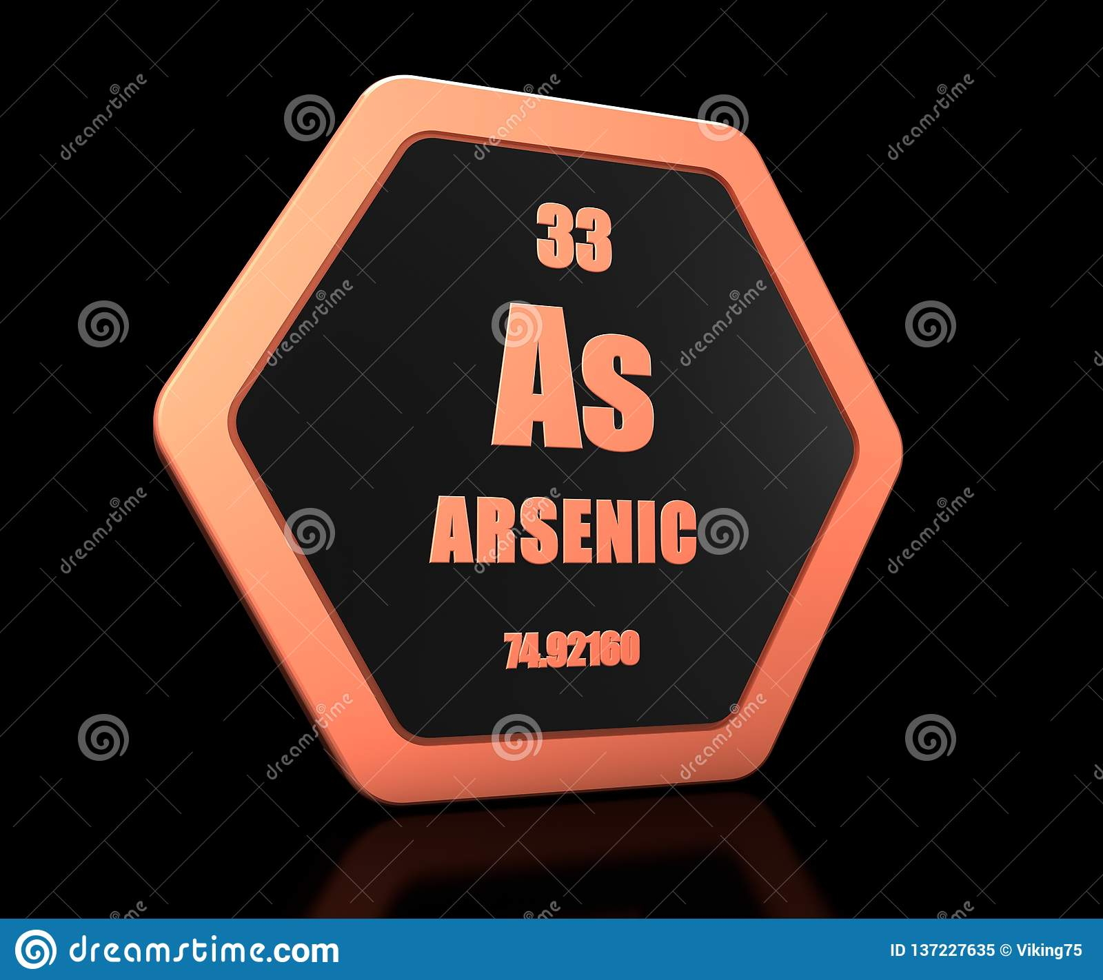 Arsenic chemical element periodic table symbol 3d render
