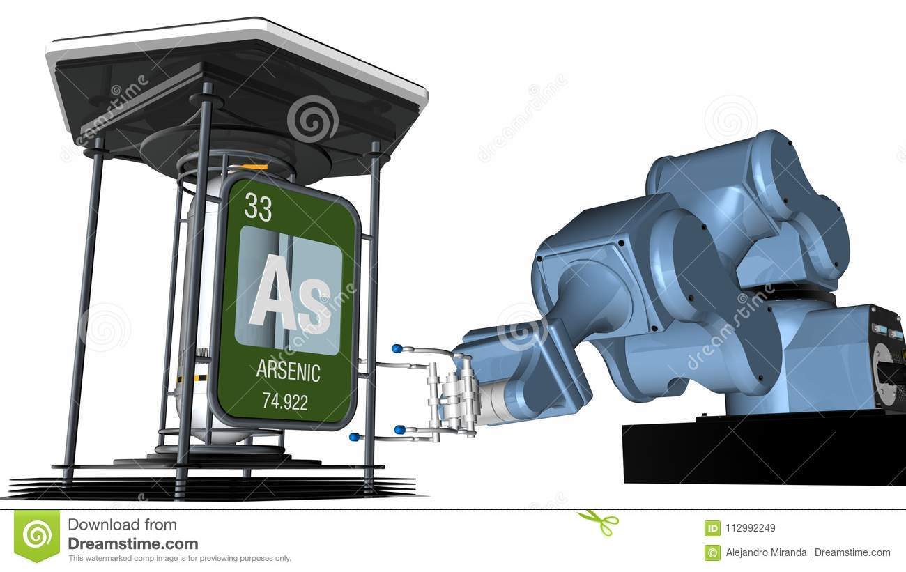 Arsenic symbol in square shape with metallic edge in front of a mechanical arm that will hold a chemical container. 3D render.