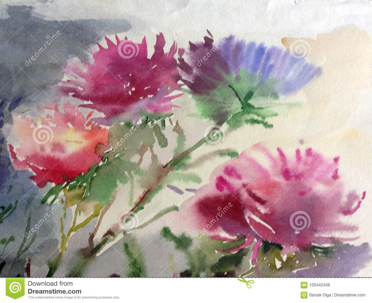 Watercolor Art Background Colorful Blue Pink Aster Flower Bouquet