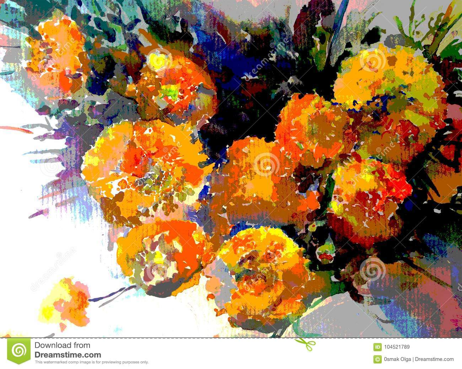 Watercolor Art Background Autumn Flowers Bouquet Vivid Stock Illustration Illustration Of Background Autumn 104521789