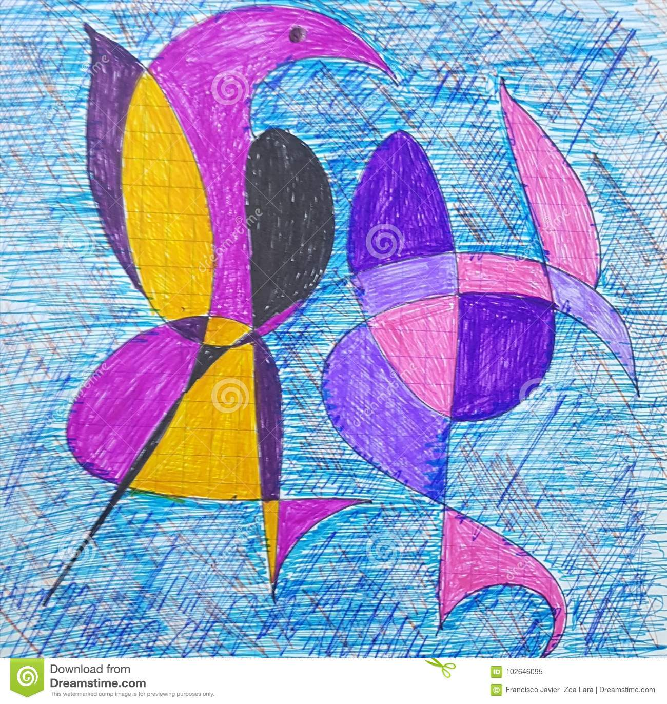 Art Abstract Only Drawing With Shapes Colors And