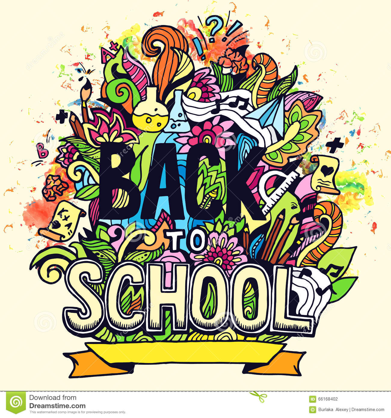 Art Abstract Illustration With Calligraphy Text Back To School ...