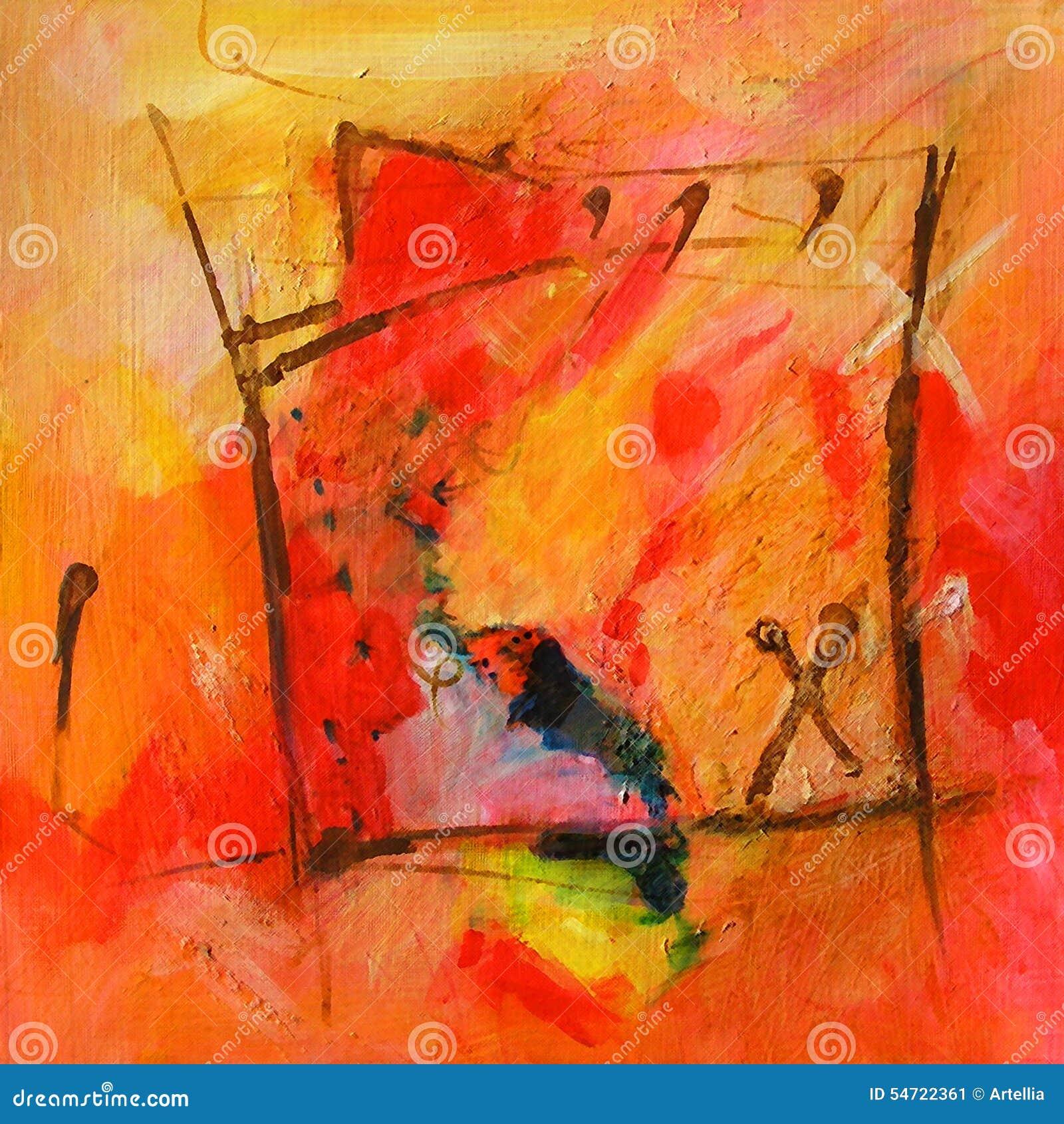 Art abstrait moderne peinture couleurs rouges et for Art moderne peinture