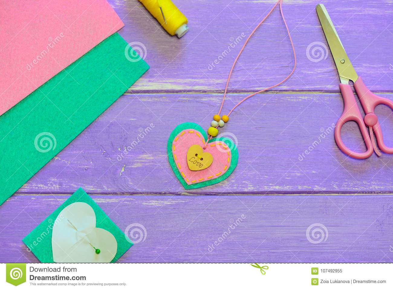 Cute Heart Pendant Necklace Valentines Day Pendant Necklace Made Of