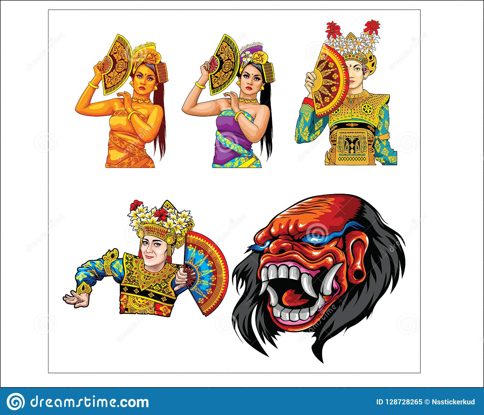 Art And Barong Arts From Bali Island Stock Vector Illustration Of