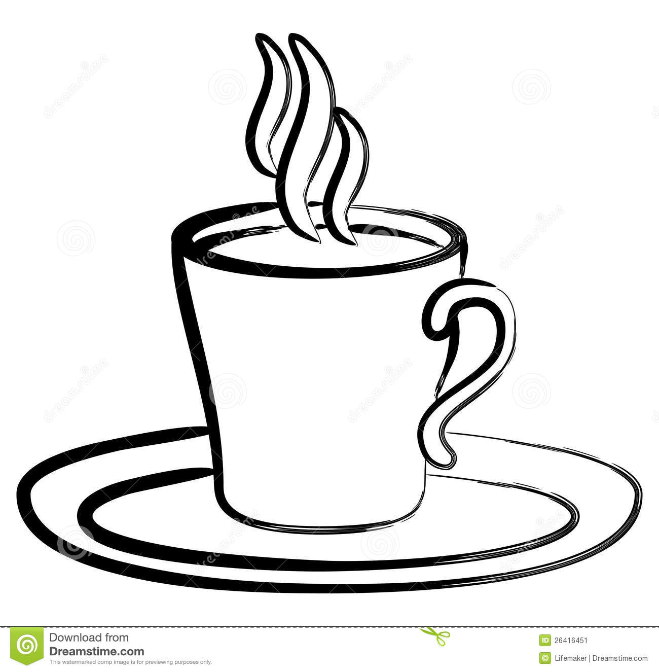 Art Black White Coffee In Cup Stock Vector - Illustration ...