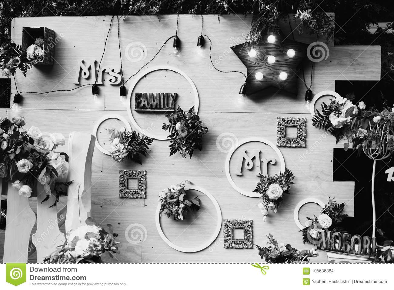 Art black and white photography wedding decorations