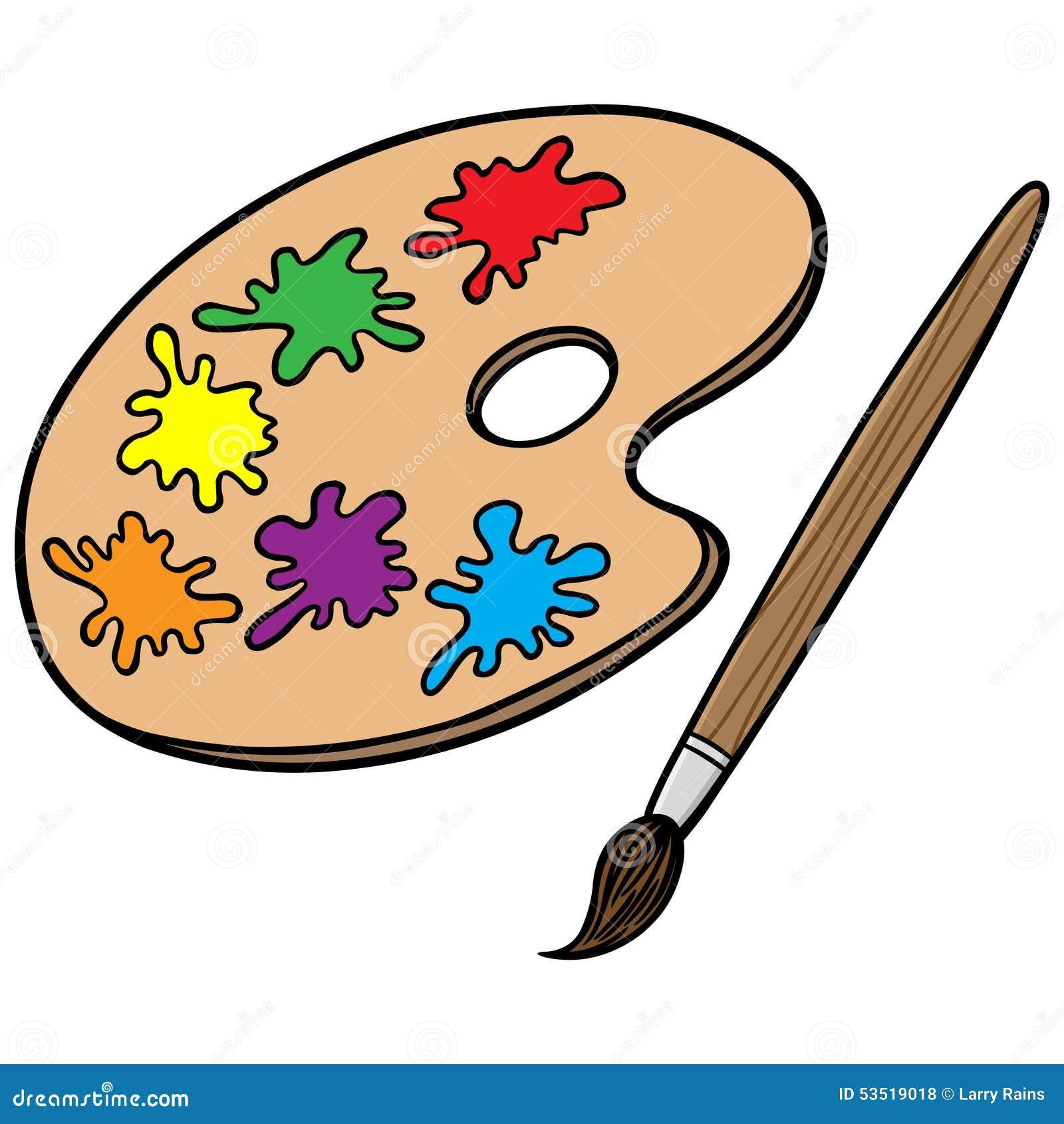Paint Pallet And Art Equipment Cartoon