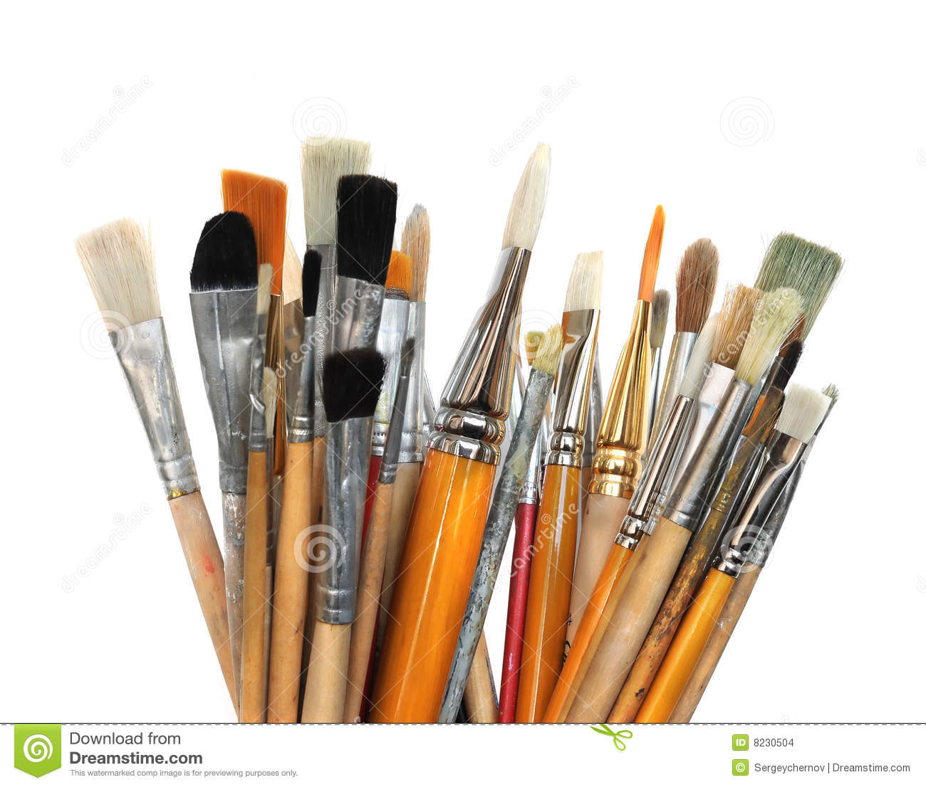 Artistic group of paintbrushes isolated on wight background.