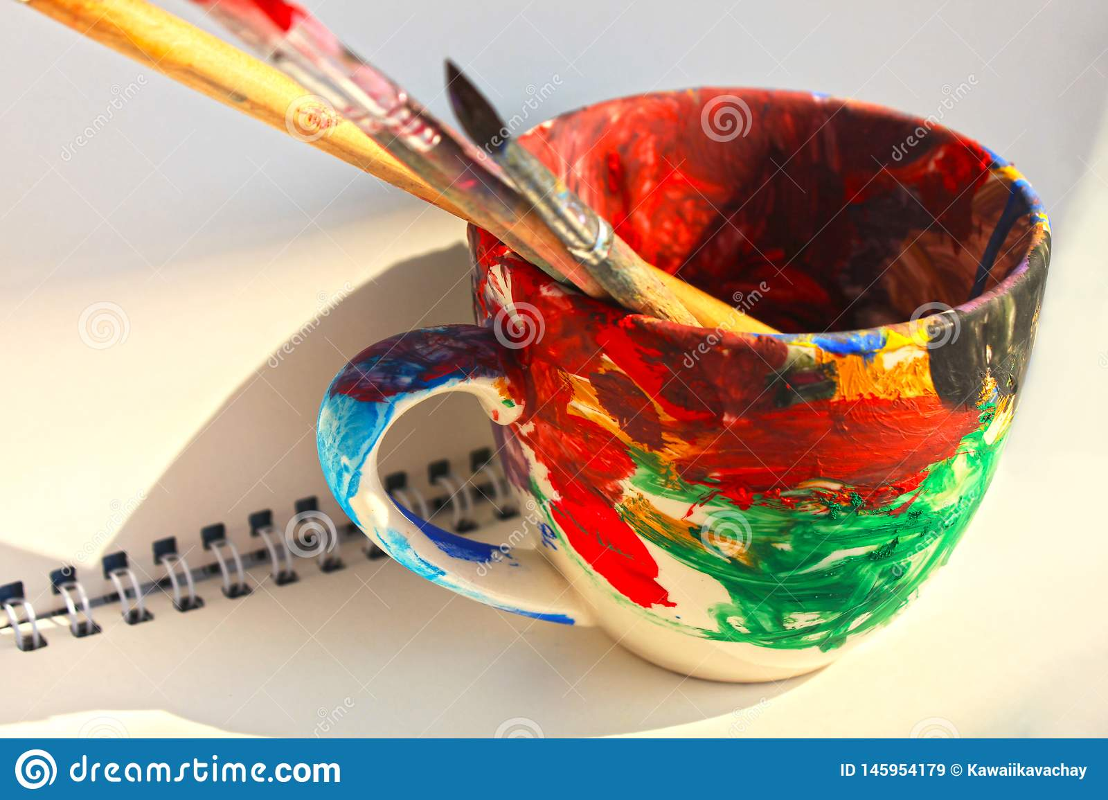 Art Paint Brushes In A Cup With Empty Space For Text Stock Image Image Of Creative Design 145954179