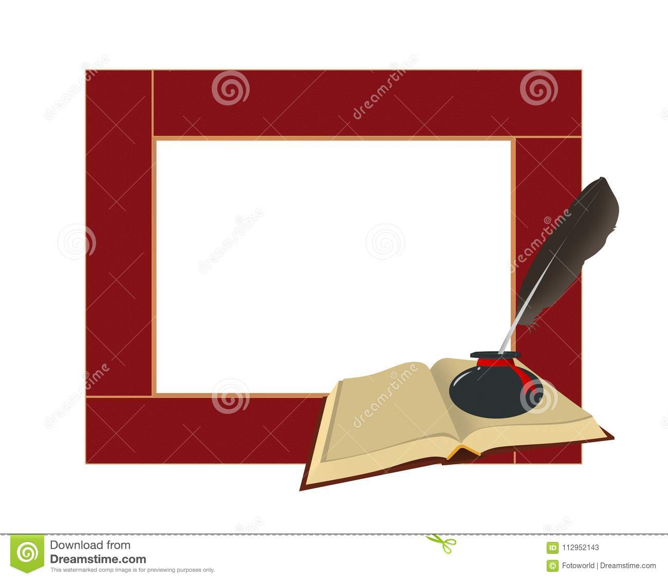 Art Children`s Frame With The Book, Inkwell With A Feather. Isol ...