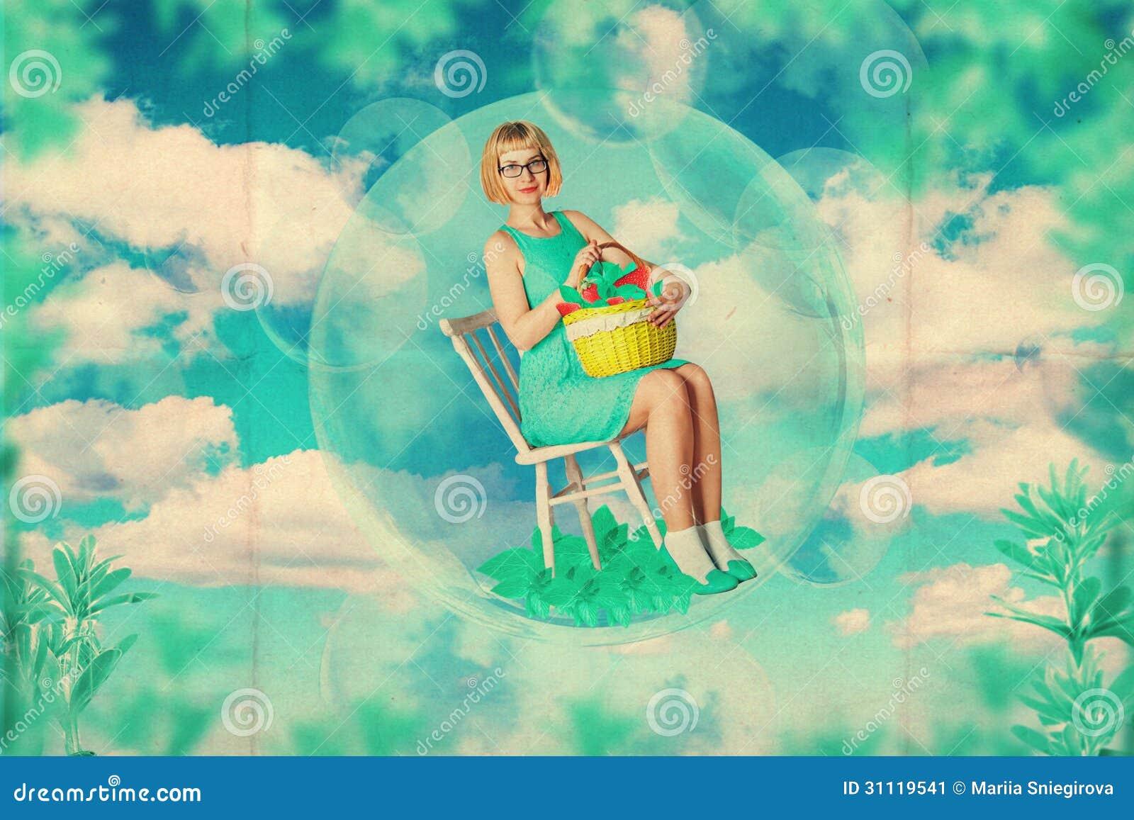 Art collage with beautiful woman creative work stock for Beautiful creative art