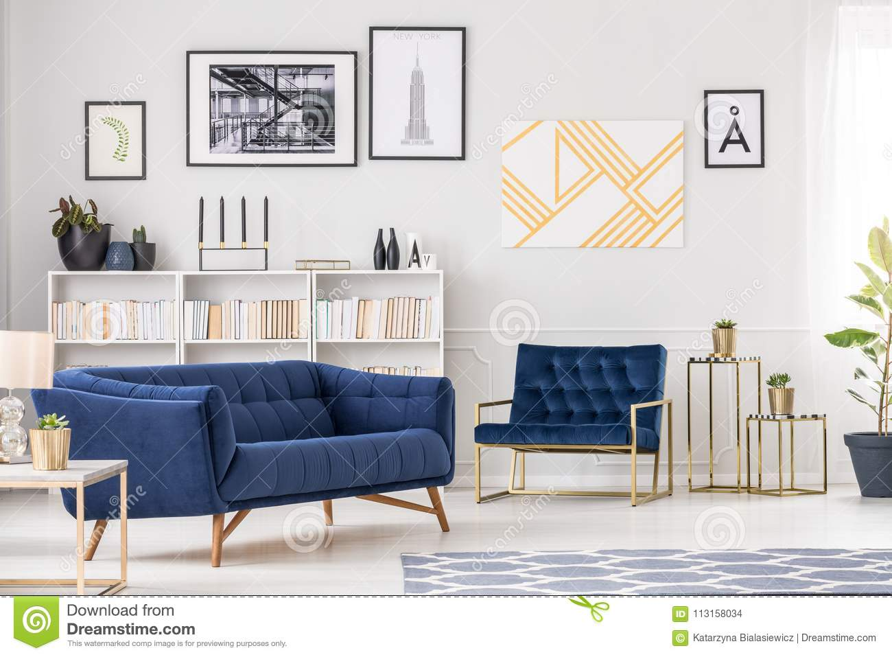 Art collection and sofa stock photo. Image of apartment - 113158034