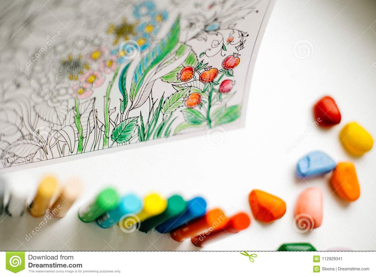 Art And Color Therapy. Anti Stress Adult Coloring Book. Stock Image ...