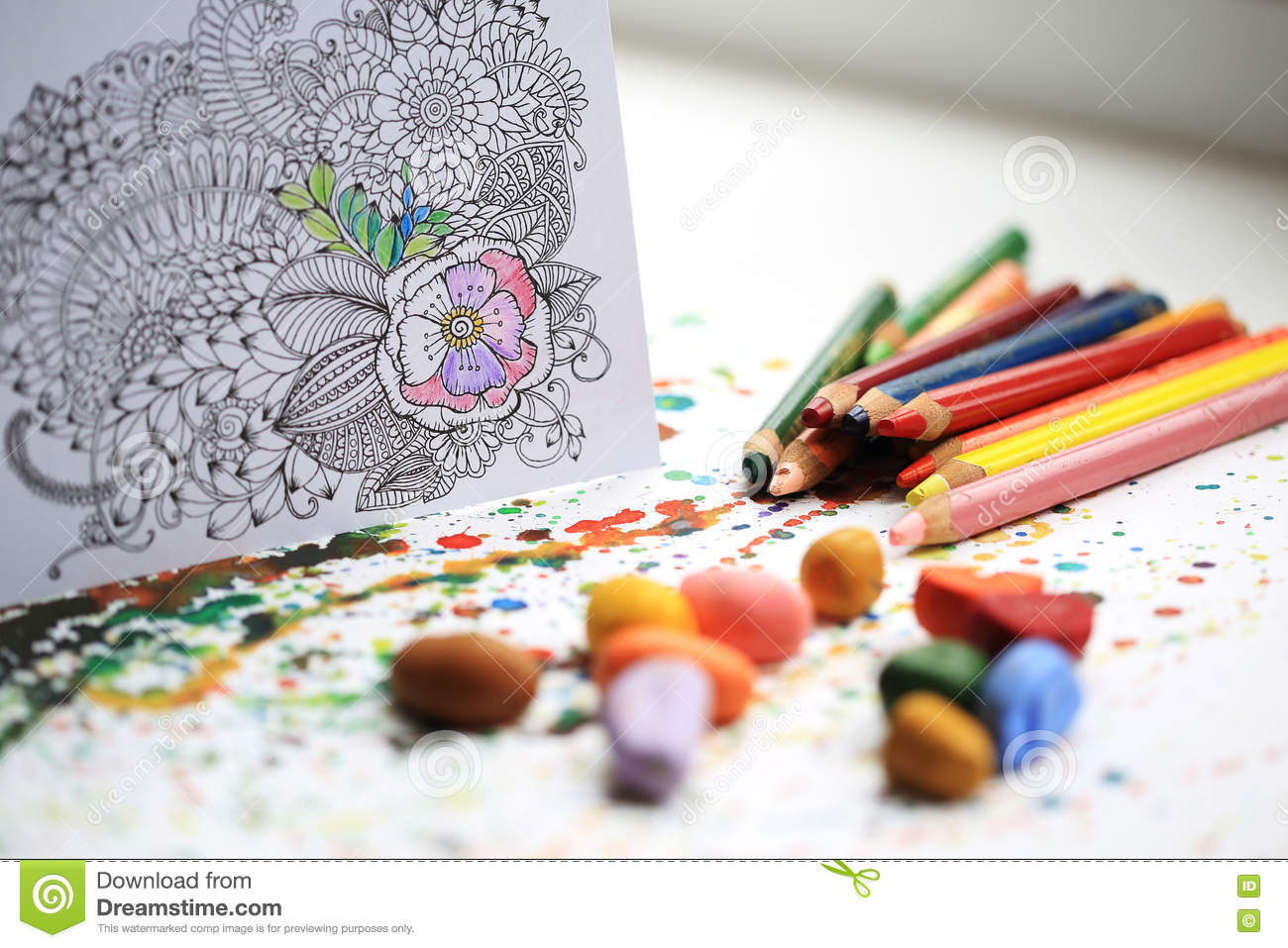 Download Art And Color Therapy Anti Stress Adult Coloring Book Stock Image