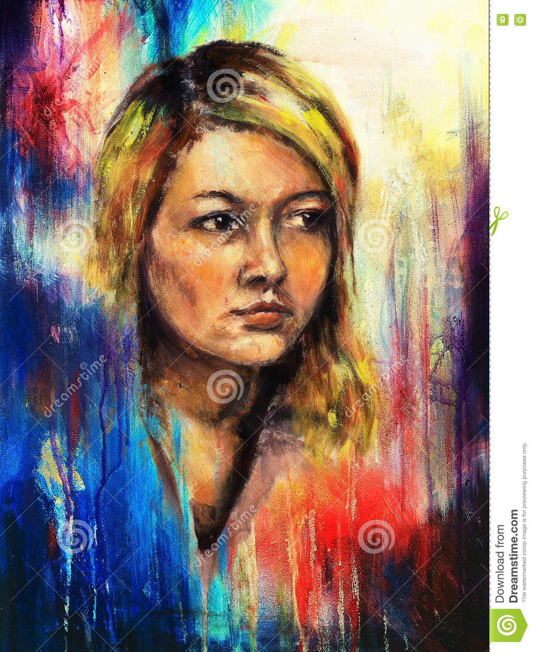 Art Colorful Painting Beautiful Girl Face And Abstract